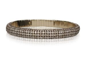 Giotto, bracciale elastico in oro rosa 18k e diamanti brown