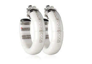 Pura, orecchini in oro bianco 18k diamanti bianchi e ceramica high tech bianca lucida