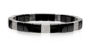 Scacco, bracciale elastico in oro 18k diamanti bianchi e ceramica high tech nera lucida