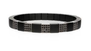 Scacco, bracciale elastico in oro 18k diamanti neri e ceramica high tech nera satinata