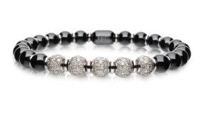 Sfera bracciale elastico in oro 18k diamanti bianchi